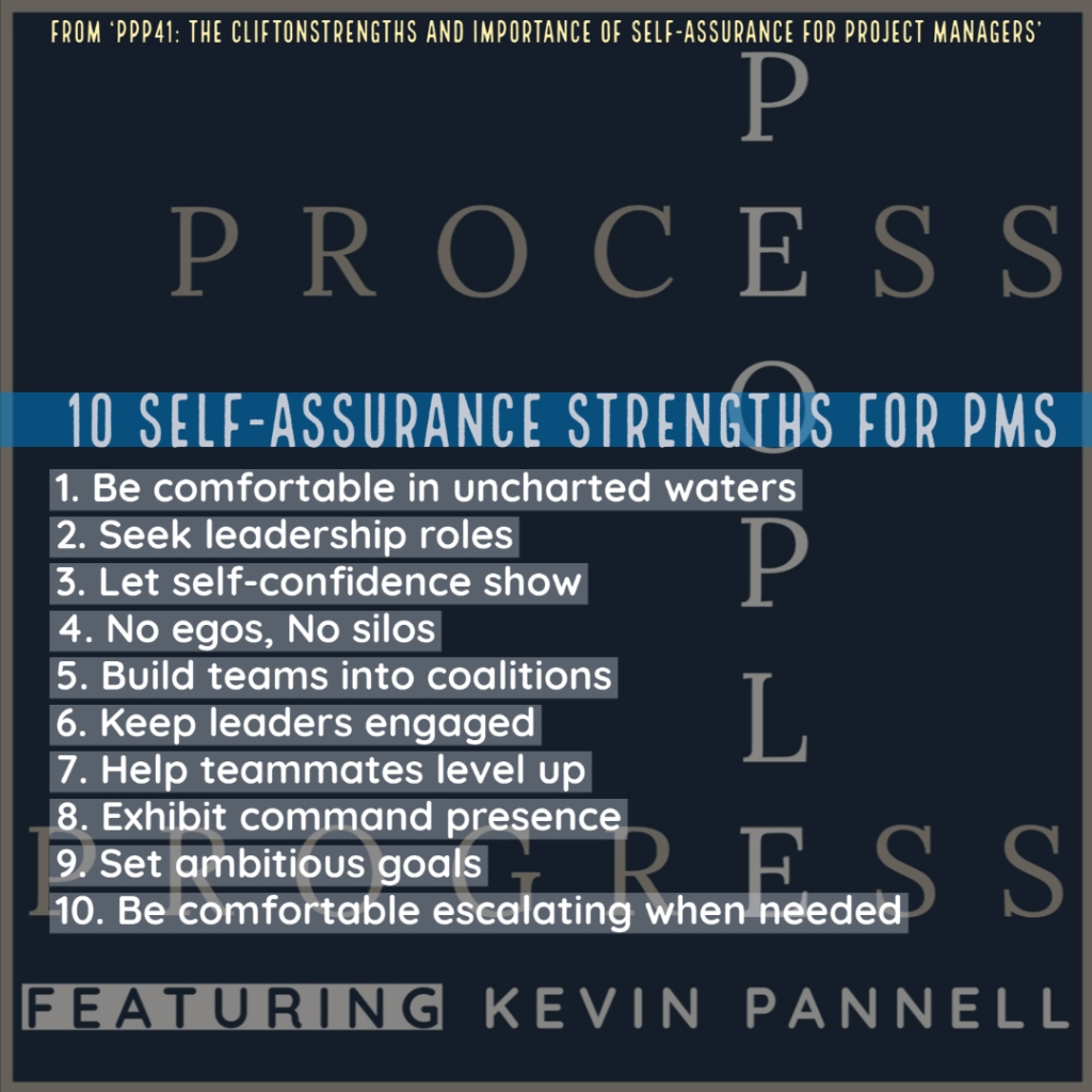 Summary of the 10 self-assurance strengths for Project Managers from Strengthsfinder 2.0